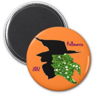 Glitter Witch 6 Cm Round Magnet