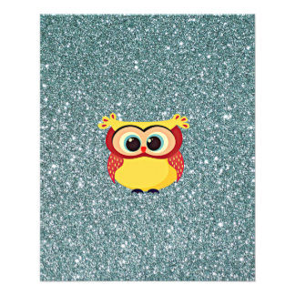 Glitter with Owl 11.5 Cm X 14 Cm Flyer