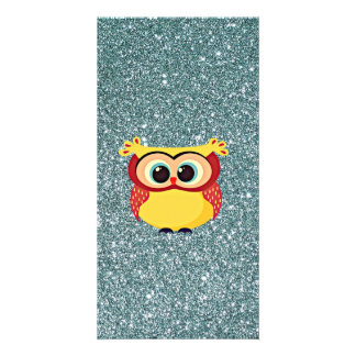 Glitter with Owl Photo Card