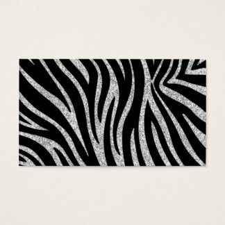 Glitter Zebra Print Monogram Business Cards