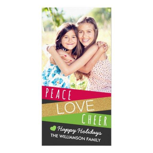 Glitter Zig Zag Holiday Photo Card / Red Green