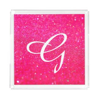 Glittered Serving Tray Pink