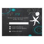Glittering Chalkboard Beach Wedding RSVP (3.5x5) Announcements