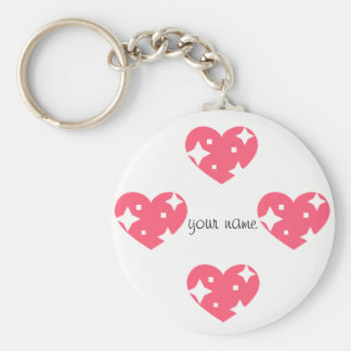 """Glittering  Emoji Hearts and '' Your Name Here """" Basic Round Button Key Ring"""