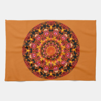 Glittering Gold Mandala, Abstract Red Orange Amber Tea Towel