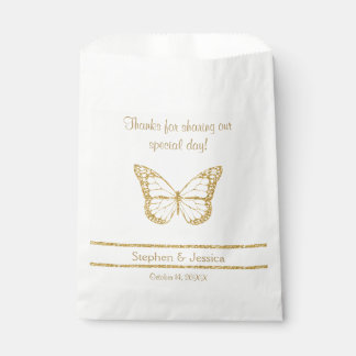 """Glittering Gold """"Thanks...Sharing Our Day"""" Favour Bags"""