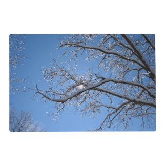 Glittering Ice Snow Covered Trees Laminated Placemat