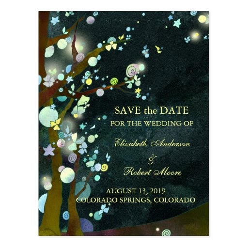 Glittering Lovely Night Save the Date Postcards