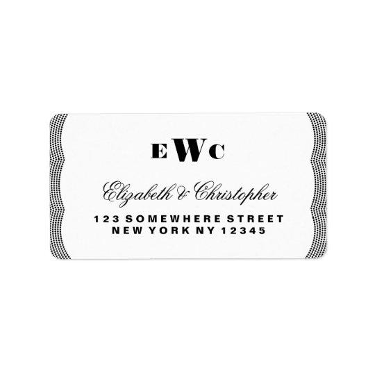 Glittering Monogram Wedding Address Label