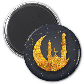 Glittering mosque and moon Round Magnet