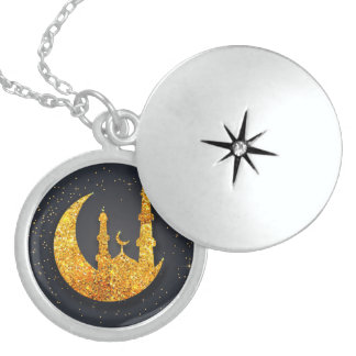 Glittering mosque and moon silver locket necklace