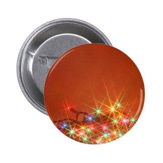 Glittering seasonal lights 6 cm round badge