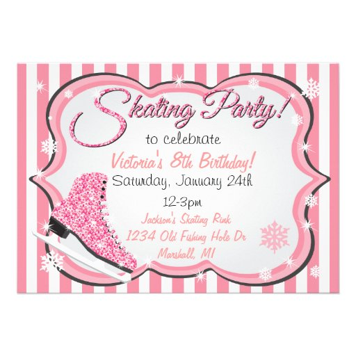 Glittering Sequin Pink Ice Skating Party Invites