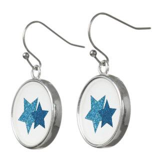 Glittering Teal Blue Stars Drop Earrings