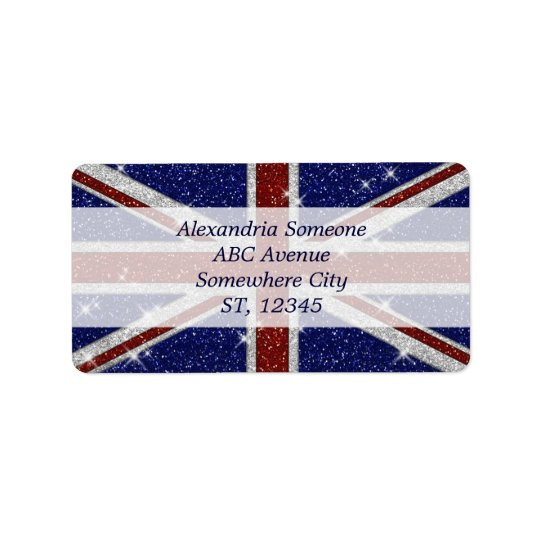Glitters Shiny Sparkle Union Jack Flag Address Label