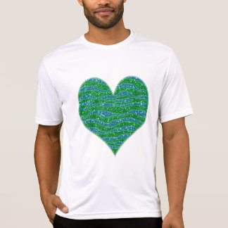 Glitters Zebra Stripes Glitters Green Blue T-Shirt