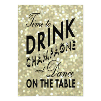 Glittery 21st Birthday Time to Drink Champagne 13 Cm X 18 Cm Invitation Card