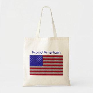 Glittery American Flag Budget Tote Bag