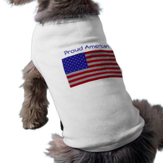 Glittery American Flag Sleeveless Dog Shirt