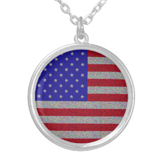 Glittery American Flag Round Pendant Necklace