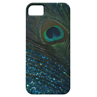 Glittery Aqua Peacock iPhone 5 Cases