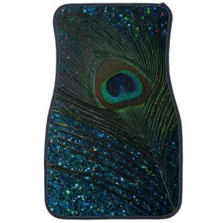Glittery Aqua Peacock Feather Floor Mat