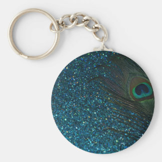 Glittery Aqua Peacock Basic Round Button Key Ring