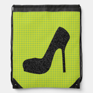 Glittery Black High Heel Lime Checked Background Backpack