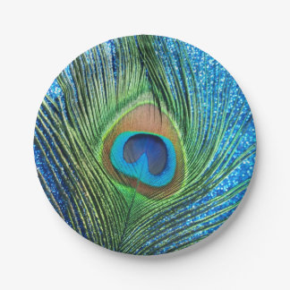 Glittery Blue Peacock 7 Inch Paper Plate