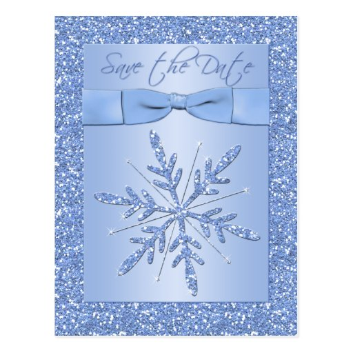Glittery Blue Snowflake Save the Date Postcard