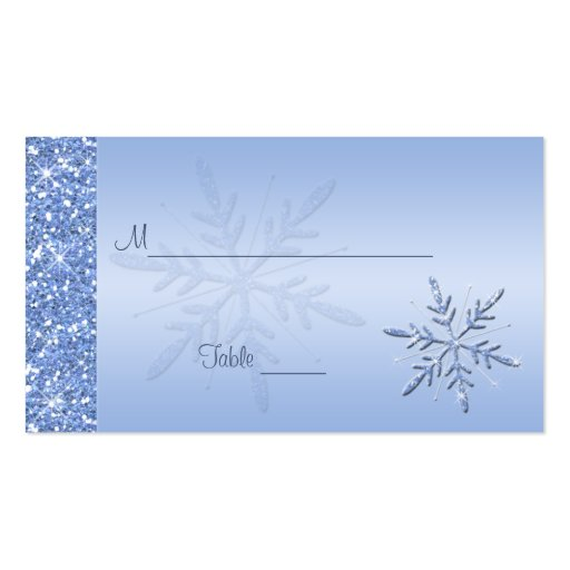 Glittery Blue Snowflakes Placecards Business Card Template