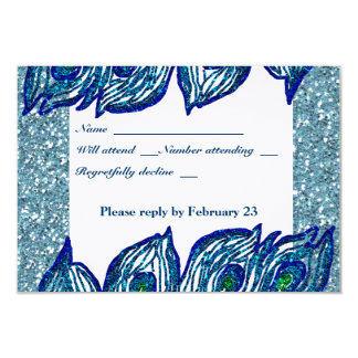 Glittery Blue Spangle Peacock rsvp with envelope Card