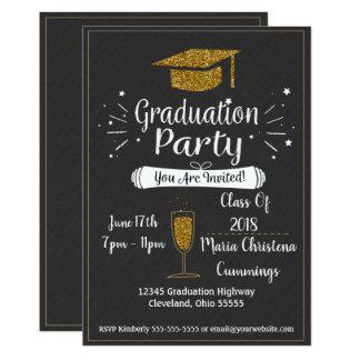 Glittery Chalkboard Graduation Party Invitation