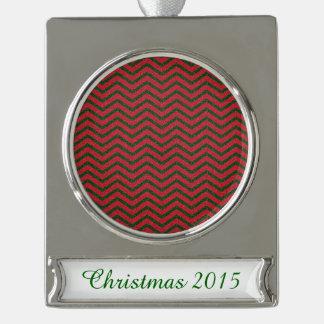 Glittery Christmas Chevron Silver Plated Banner Ornament