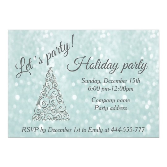 Glittery Christmas tree corporate holiday party 13 Cm X 18 Cm Invitation Card