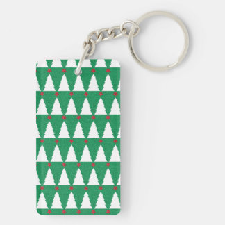 Glittery Christmas Trees Double-Sided Rectangular Acrylic Key Ring