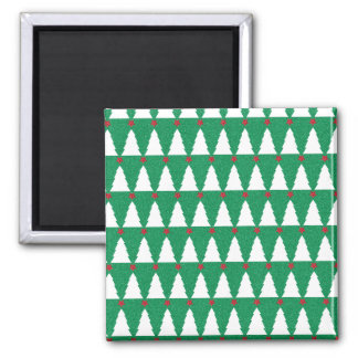 Glittery Christmas Trees Square Magnet