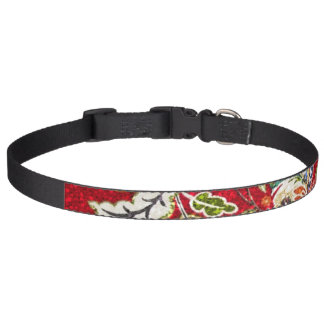 Glittery Floral Tapestry on Red Dog Collar