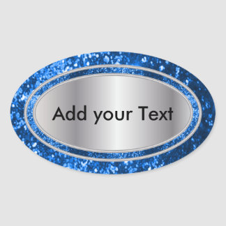 Glittery Glam Blue Oval Sticker Labels Stickers