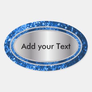 Glittery Glam Blue Sparkles Oval Sticker