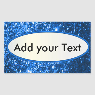 Glittery Glam Blue Sparkles Rectangular Stickers