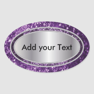 Glittery Glam Purple Oval Sticker Labels Stickers