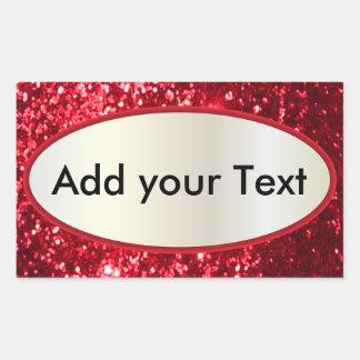 Glittery Glam Red Label Rectangular Sticker