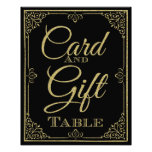 glittery gold and black card and gift wedding sign photo print