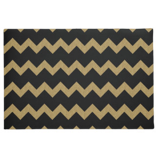 Glittery Gold and Black Chevrons Doormat
