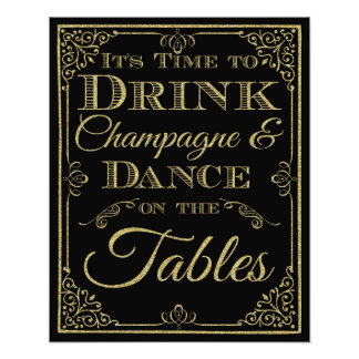 glittery gold and black Dance wedding sign Photograph