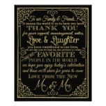 glittery gold and black thank you wedding sign photo print