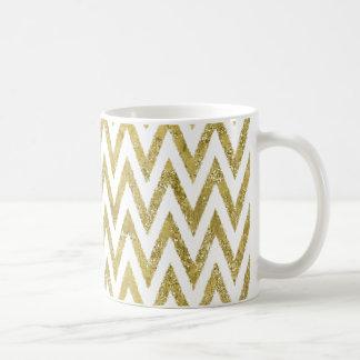 Glittery Gold and White Chevron Stripes Coffee Mug