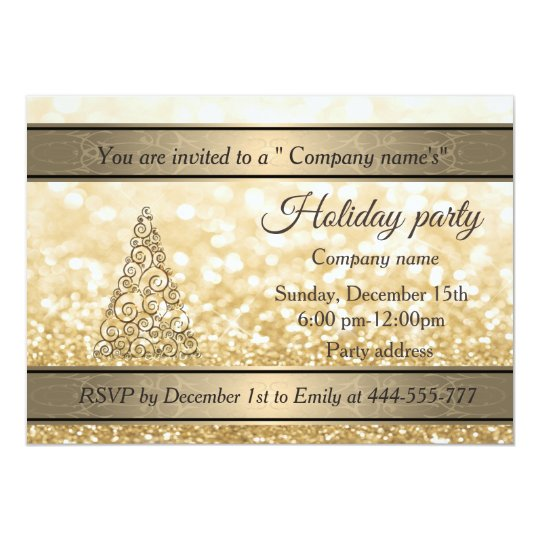 Glittery gold Christmas tree company holiday party Card