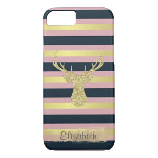 Glittery Gold Dear On Stripes-Personalized iPhone 8/7 Case